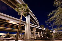 The Stack (Interstates 10 and 17) interchange at night in 2012