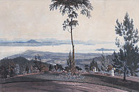 Province Wellesley can be seen in the horizon in this 1818 drawing of George Town.