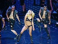 """Gaga performing """"Telephone"""" during the 2010 leg of The Monster Ball Tour"""