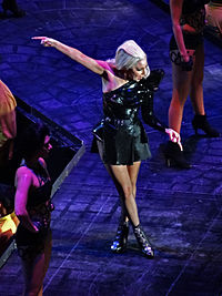 """Gaga performing """"Telephone"""" on the Born This Way Ball tour (2012–2013)"""