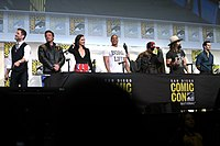Cast of Justice League at the 2016 San Diego Comic-Con with Zack Snyder.