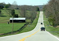 At 484 mi long, Kentucky Route 80 is the longest route in Kentucky, pictured here west of Somerset.