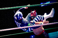 Mexican wrestler La Sombra taking down opponent with a wrestling move