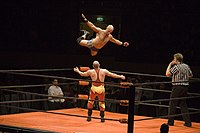 A wrestler (Christopher Daniels) leaps off the top rope