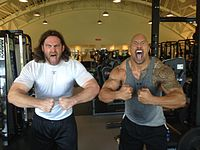 "Philadelphia Eagles' Evan Mathis and Dwayne ""The Rock"" Johnson"