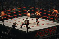 A tag team match in progress: Jeff Hardy kicks Umaga, while their respective partners, Triple H and Randy Orton, encourage them and reach for the tags