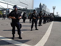 The LAPD on May Day 2006 in front of the new Caltrans District 7 Headquarters