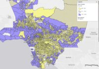 Percentage of households with incomes above $150k across LA County census tracts