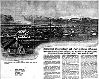 Advertisement from the Los Angeles Evening Herald of March 22, 1913, stressing the clarity of the view from the Angeles Mesa tract. Downtown Los Angeles is in the distance in the center, Mt. Baldy can be seen on the horizon, and there appears to be a brush fire at the left.