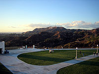 A very clear evening view of Mount Lee and the Hollywood Sign from the Griffith Observatory lawn, one day after a rain