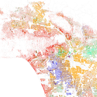 Map of racial and ethnic distribution in Los Angeles, 2010 U.S. Census. Each dot is 25 people: White, Black, Asian , Hispanic or Other (yellow)