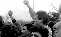 Armenians demonstrating for the unification of the republic with Nagorno-Karabkh at Opera Square in Yerevan in the summer of 1988