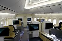 First Class on board one of Lufthansa's Boeing 747-8Is in a 1-2-1 layout.