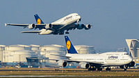 A Boeing 747-8I and Airbus A380-800 of Lufthansa at Frankfurt Airport. The A380 and, together with the recently introduced Airbus A350 XWB, form the backbone for Lufthansa's long-haul routes.