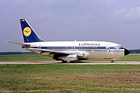 Lufthansa was the launch customer of the Boeing 737, the best-selling jet airliner for long time until replaced by Airbus A320 in late 2019. The image shows an original 737-100 at Hannover Airport in 1968.