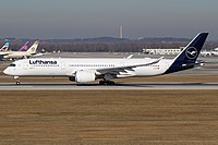 A Lufthansa Airbus A350-900 XWB painted in the airline's latest livery