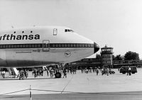 D-ABYB, the aircraft destroyed in the Flight 540 accident, was the 2nd of 3 Boeing 747-100s delivered to Lufthansa. It is seen here during a promotional event at Nuremberg Airport in 1970.