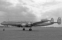 Lufthansa Lockheed L-1049G Super Constellation operating a transatlantic scheduled service from Hamburg to Montreal and Chicago in May 1956