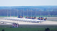 15 aircraft of Lufthansa that are parked at Berlin Brandenburg Airport on 21 March 2020 due to the cancellation of 95 percent of all flights of the airline on 19 March 2020