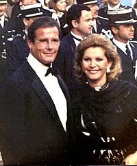 Roger Moore at the 1989 Cannes Film Festival with wife Luisa Mattioli