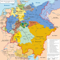 Map of the German Confederation (1815–1836) with its 39 member states
