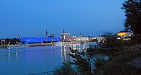 The Danube at Linz with cruise ships