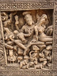 A carving in the 10th- or 11th-century Hindu temple of Malhar village. This area, 40 km from Bilaspur, was supposedly a major Buddhist centre in ancient times.