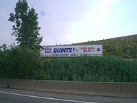 Trailer honoring the Giants for winning the Super Bowl. The trailer was located on the New Jersey Turnpike near Exit 14.