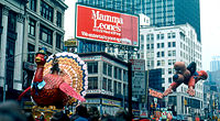 Tom the Turkey and Underdog arriving at Macy's Herald Square during the 1979 edition of the parade.