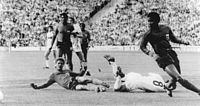 Haiti and their captain Wilner Nazaire against the Italy at the 1974 World Cup.