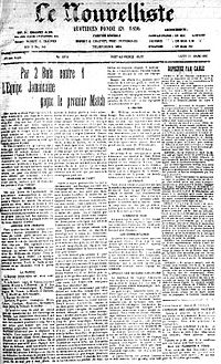 Le Nouvelliste (a Haitian newspaper) of 25 March 1925 describing the encounter between Haiti and Jamaica, who played their first official match on 22 March 1925 against their Caribbean neighbors in Haiti. Haiti was defeated 1–2 to the Jamaicans, as the first goal in Haiti's history was scored by Painson in the 86th minute. Following the affiliation of the Haitian Football Federation with FIFA in 1933, Haiti was able to register for the qualifiers for the 1934 World Cup in Italy.