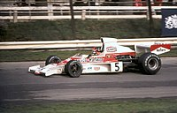 Fittipaldi in the McLaren M23 in the 1974 Race of Champions at Brands Hatch