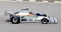 Fittipaldi driving for his brother's eponymous team at the 1976 Brazilian Grand Prix at his home circuit, Interlagos