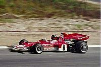 Fittipaldi driving the Lotus 72 at the Nürburgring in {{F1|1971}}