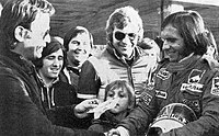 Fittipaldi with Italian fans at Mugello in 1974