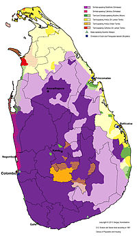 The distribution of languages and religious groups in Sri Lanka, 1981