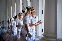 Female dancers in traditional Kandyan dress