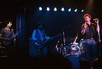 Reed performing onstage with guitarist Chuck Hammer, June 1979, The Bottom Line, New York City