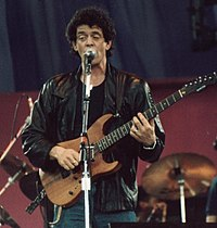 Reed performing live during a benefit concert for A Conspiracy of Hope at Giants Stadium in East Rutherford, New Jersey, 1986