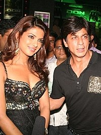 Khan with Priyanka Chopra at the premiere for Don in 2006