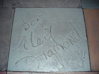 The handprints of Diamond in front of The Great Movie Ride at Walt Disney World's Disney's Hollywood Studios theme park.