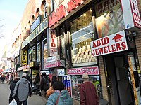 Little India on 74th Street in Jackson Heights, Queens, New York City, has developed into a pan-South Asian business district.