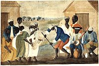 In the late 18th-century painting The Old Plantation, African-Americans dance to banjo and percussion.