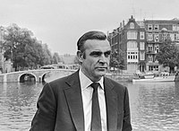 Sean Connery in Amsterdam in July 1971, filming for the seventh Bond film Diamonds are Forever.