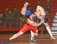 Contests of physical skill and strength appear in some form in many cultures. Here, two U.S. Marines compete in a wrestling match.