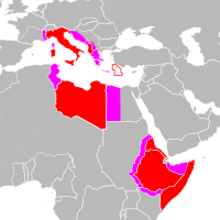 The Italian Empire (red) before World War II. Pink areas were annexed/occupied for various periods between 1940 and 1943 (the Tientsin concession in China is not shown).