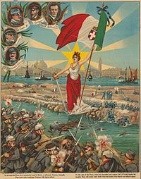 Italian propaganda poster depicting the Battle of the Piave River