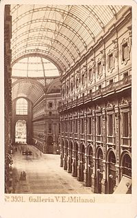 Galleria Vittorio Emanuele II in Milano was an architectural work created by Giuseppe Mengoni between 1865 and 1877 and named after the first King of Italy, Victor Emmanuel II.