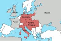 The Triple Alliance in 1913, shown in red