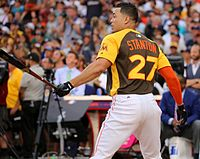 Stanton in the final round of the 2016 Home Run Derby.